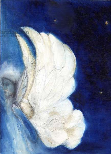 Wings over London, 2013, (oil and gold leaf on card)
