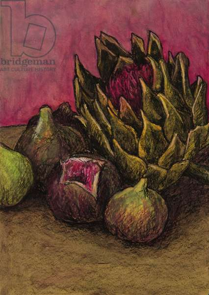 Still life with wild artichoke, 2008 (oil pastel on paper)