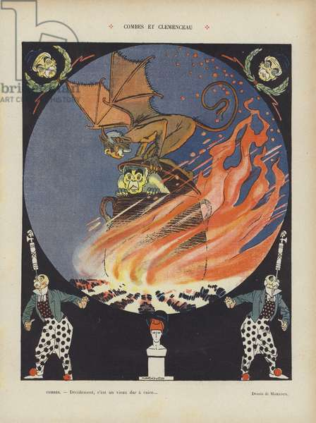 Combes and Clemenceau. Illustration for Le Rire (colour litho)