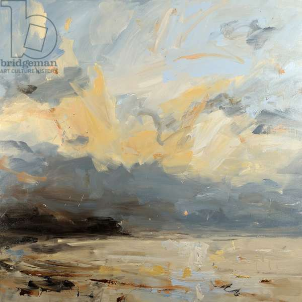 Low Sunset and Grey Clouds (oil on canvas)