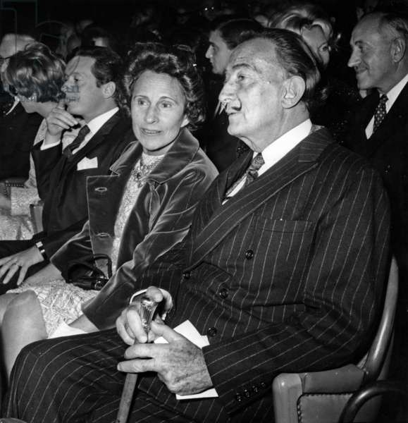 Salvador Dali and Gala at Premiere of The Film Juliet of The Spirits By Fellini. Publicis Movie Theater, Saint-Germain-Des-Pres, Paris, October 20, 1965 (b/w photo)