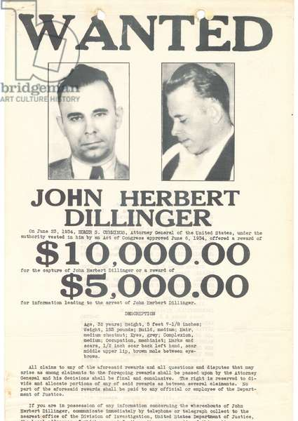 Wanted poster for John Herbert Dillinger
