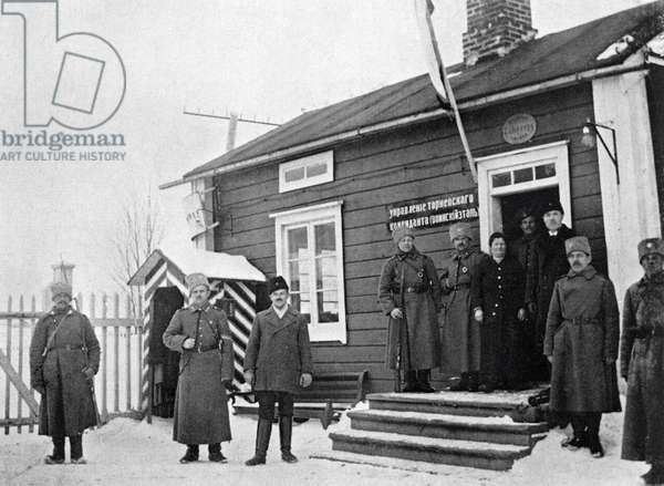 Russian frontier and customs post on the Finnish side of Torne river during the World War I, 1st December, 1915 (b/w photo)