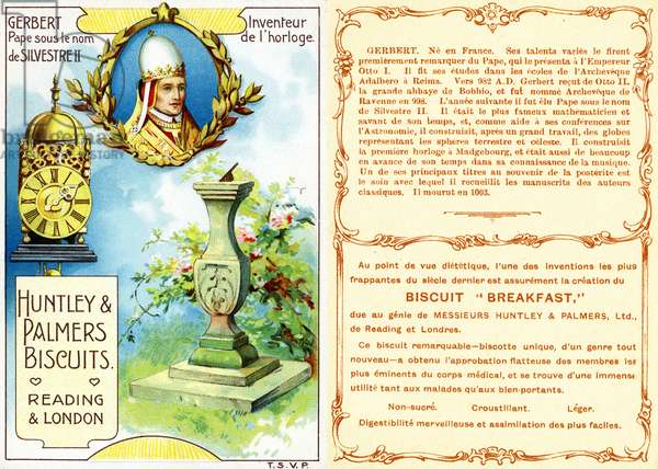 Pope Sylvester II, Inventor of the first mechanical clock, front and reverse of a promotional card, from a series on inventors, produced for the French market by Huntley and Palmers, c.1910 (colour litho)