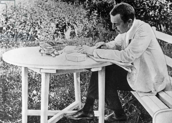 Sergei Rachmaninov (1873-1943) composing his third piano concerto, 1910 (b/w photo)