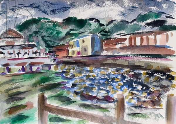 Bridgeway, Sausalito, 2015, (watercolor on paper)