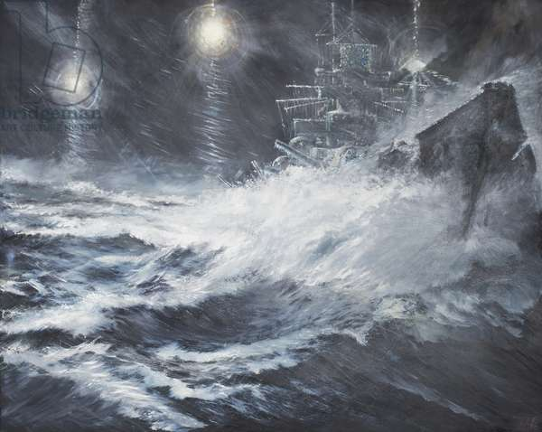 Surprised By Starshell Scharnhorst at North Cape, 2008 (oil on canvas)