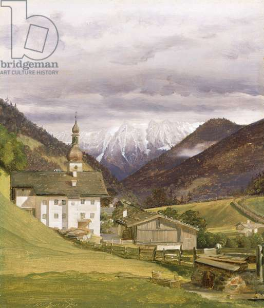 The Church of Ramsau, 1832 (oil on paper)