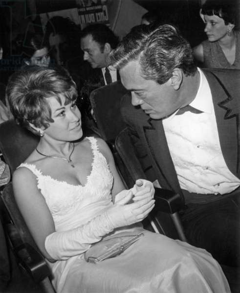 Roger Lanzac And His Wife At The Premiere Of Nanamouskouri Recital At The Olympia On October 27, 1967 (b/w photo)