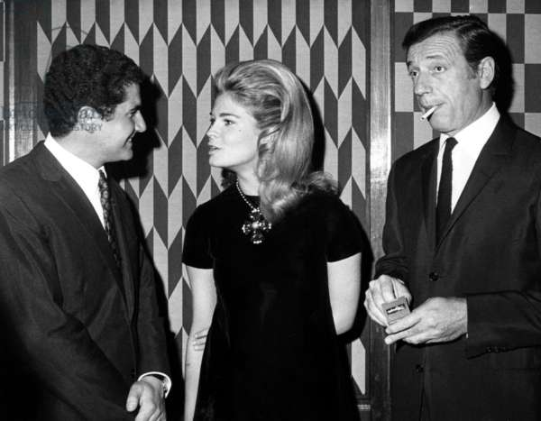 Director Claude LeLouch, Candice Bergen, Yves Montand at a party honoring the Director, New York, February 20, 1967