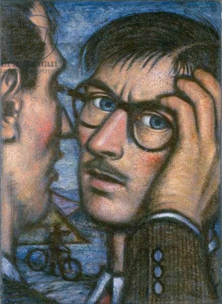 Self portrait - Puzzled, 1953 (pastel on paper)
