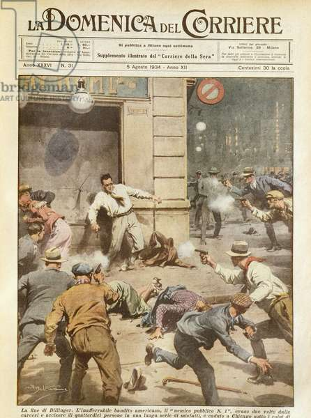 The killing of Dillinger, famous American gangster, by Achille Beltrame (1871-1945), from La Domenica del Corriere, 5th August 1934