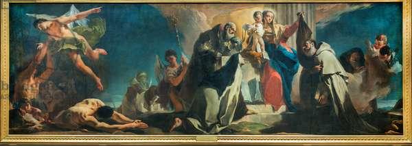 Our Lady of Carmel with Saint Simon Stock, Saint Teresa of Avila, Saint Albert of Vercelli, the Prophet Elijah and the Souls in Purgatory, 1745 (oil on canvas)