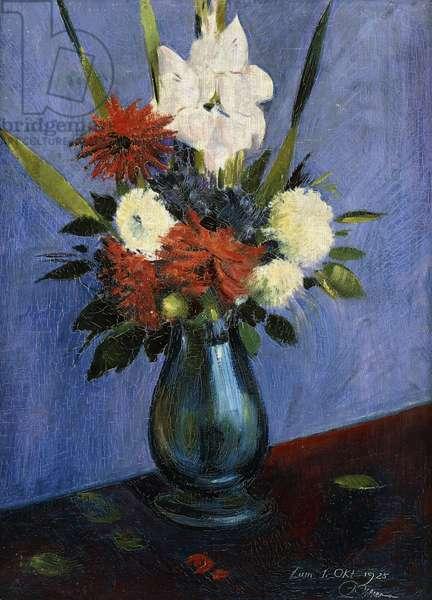 Vase of Flowers with Gladiola and Dahlias; Blumenvase mit Gladiolen und Dahlien, (oil on canvas)