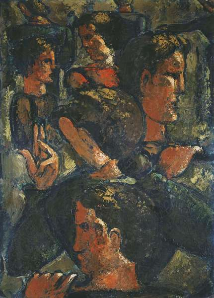 Group of Figures with Raised Hand; Figurengruppe mit Erhobener Hand, 1941 (oil and lacquer on board)