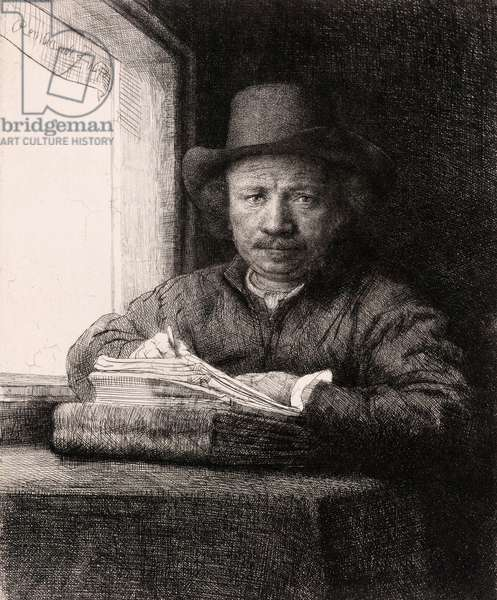 Self-Portrait Drawing at a Window by Rembrandt van Rijn, 1648 (etching and drypoint)