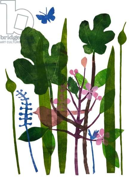 'Fig leaves' (mono print) 2020
