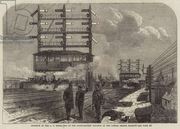 Exterior of the A B Signal-Box of the South-Eastern Railway at the London Bridge Station (engraving)