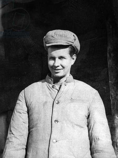 Korean War. 'Corporal Frank J. Kaiser (RA 13347441) of 15 Memminger Lane, Wheeling, W. Virginia, in a POW camp in North Korea.'