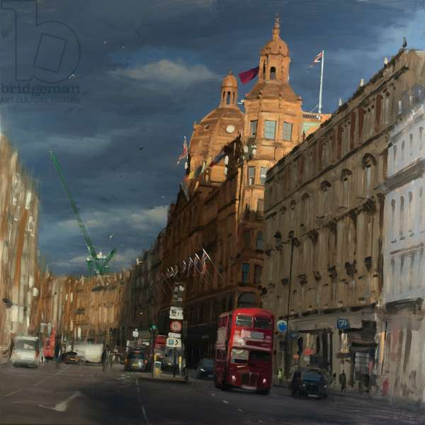 sunbeam on Harrods, 2018, oil on board