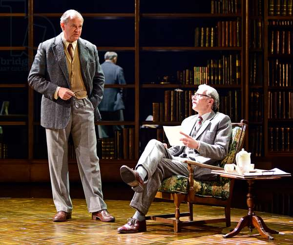 Hugh Bonneville (left) playing CS Lewis and Andrew Havill as Warnie in Shadowlands by William Nicholson, Chichester Festival Theatre, West Sussex, UK, 2019 (photo)