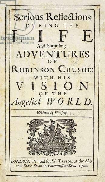 Robinson Crusoe, novel by Daniel Defoe (1660-1731), title page for 1720 London edition
