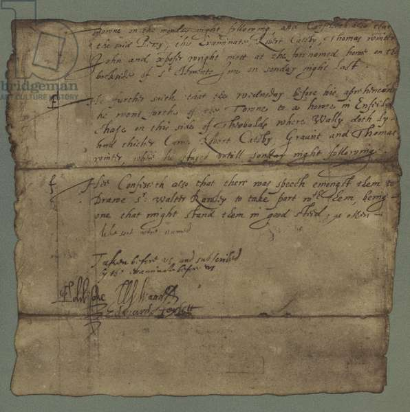 Signature of Guy Fawkes under torture (colour litho)