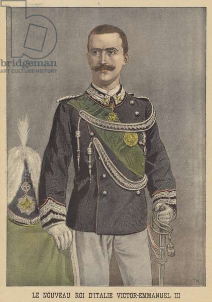 Victor Emmanuel III, the new King of Italy (colour litho)