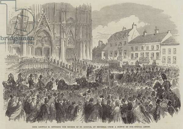 King Leopold II entering the Church of St Gudule, at Brussels (engraving)