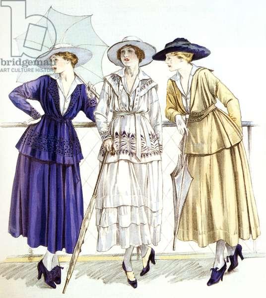 """Jersey suit, models by Gabrielle Chanel published in magazine """"Les elegances parisiennes"""", march 1917"""