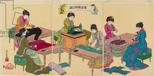 Illustration of Ladies Sewing, 1887 (colour woodblock print)