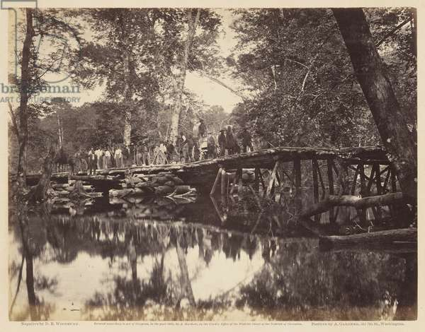 Military Bridge across the Chickahominy. Negative by D. B. Woodbury; positive by A. Gardner, June, 1862 (albumen print mounted on wove paper)