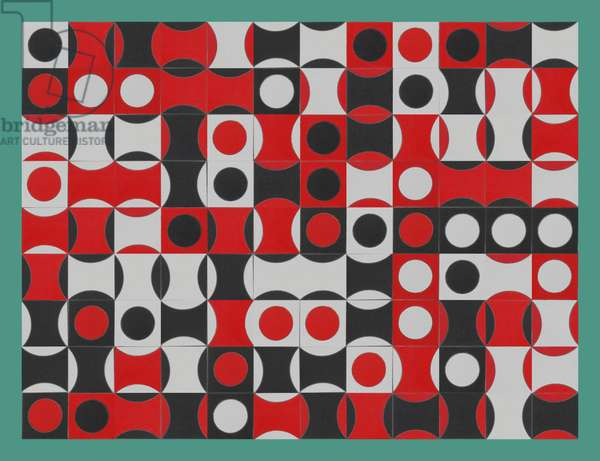 BLACK WHITE & RED COMPOSIT OF CIRCLES
