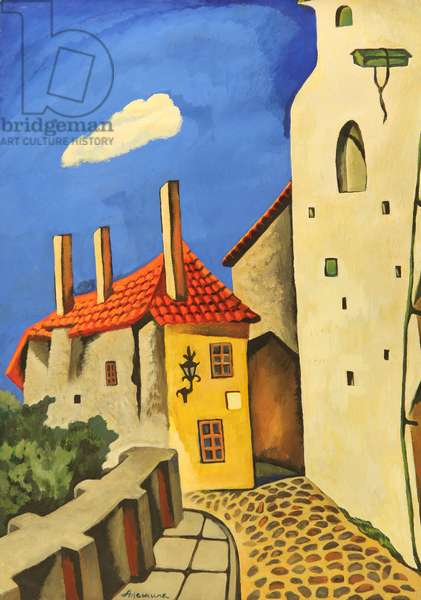 Tiny House in the City of Tallin, 1974 (tempera on paper)