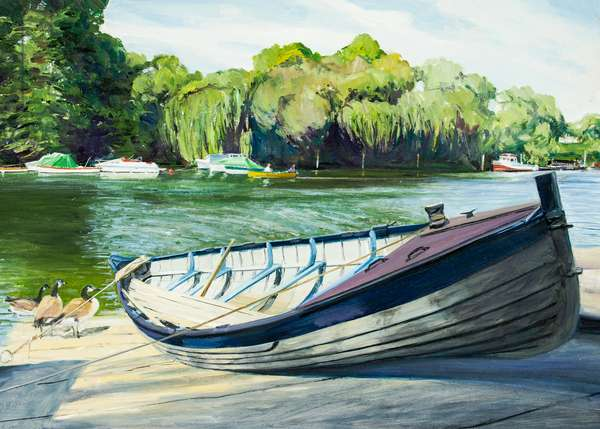 Boat on Thames slipway at Richmond
