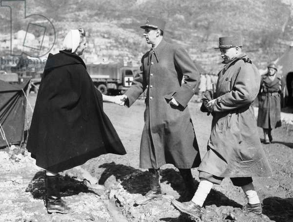 French officers General Charles de Gaulle and General Juin on June 27, 1944 during Italy campaign