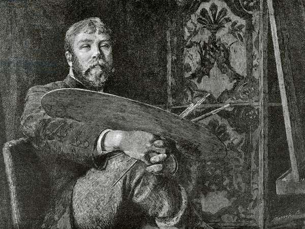 Self-Portrait of Edward John Gregory, British painter (engraving)