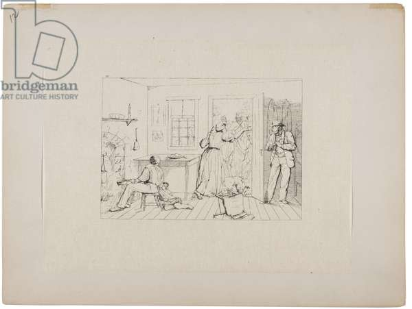 Slaves concealing their master from a search party, c.1880-90 (etching)