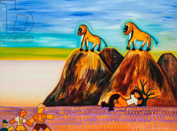 Timo and the baboons,2003,(oil on linen)