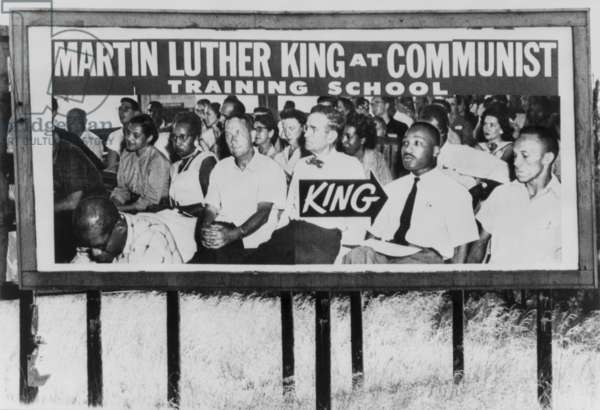Communist accusation. Billboard of a 1950's photo of Martin Luther King and Rosa Parks among others in a class at the Highlander Folk School, Monteagle, Tenn. In the 1950.s the school trained civil rights activists in non-violent protest. 1965