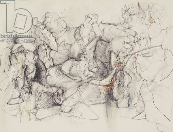 Untitled, 1944 (pencil, black chalk & coloured wax crayons on paper)
