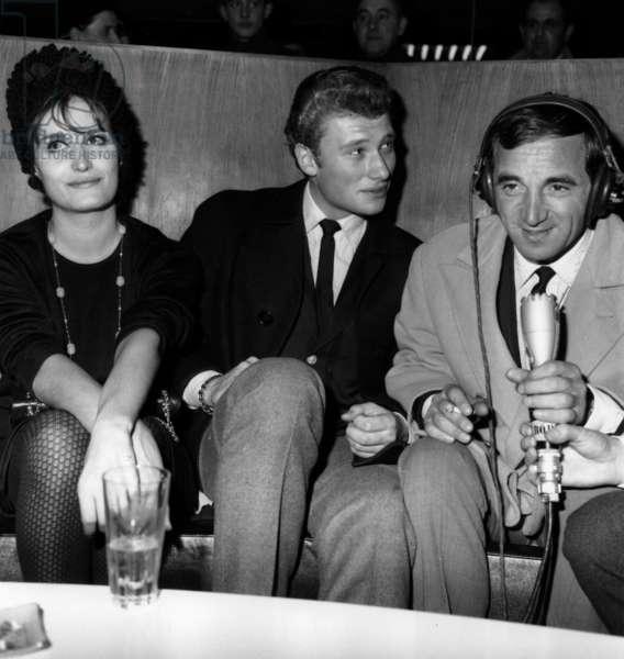Dalida, Johnny Hallyday and Charles Aznavour at Reception Organized at Orly Airport, Paris, November 23, 1962 (b/w photo)