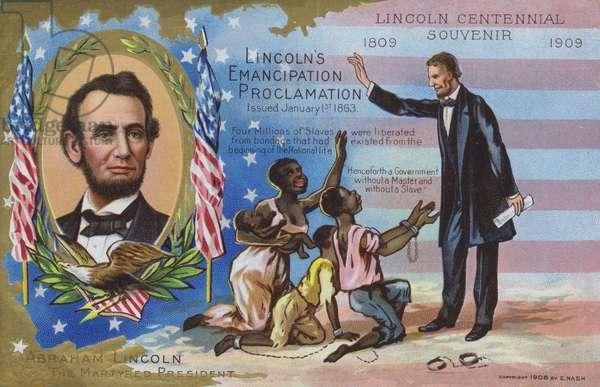 Abraham Lincoln's Emancipation Proclamation, 1 January 1863 (chromolitho)
