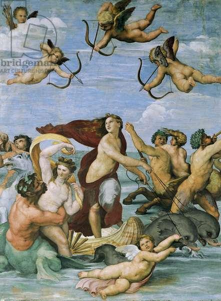 Triumph of Galatea by Raphael (1483-1520), fresco, 295x225 cm, Villa Farnesina, Hall of Galatea, Rome, circa 1511