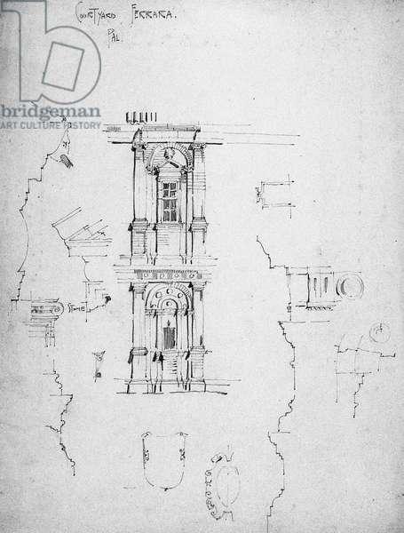 Palace Courtyard, Ferrara, 1891 (pencil on paper)