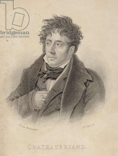 Portrait of vicomte de Chateaubriand (engraving)