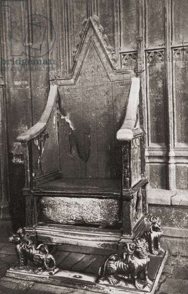 The Coronation Chair,  Westminster Abbey, City of Westminster, London, England. Here seen with the Stone of Scone.  From London, Historic and Social, published 1902.