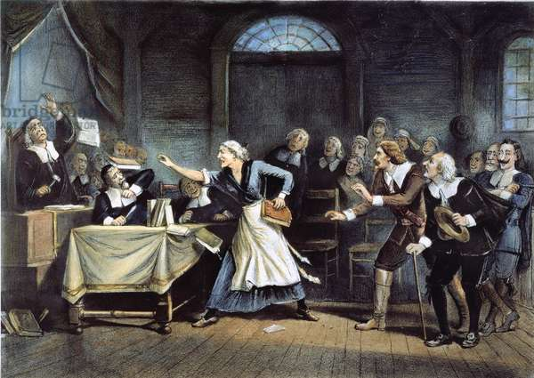 WITCH TRIAL Trial at Salem, Massachusetts, in 1692 by George H Walker (Lithograph) 1892