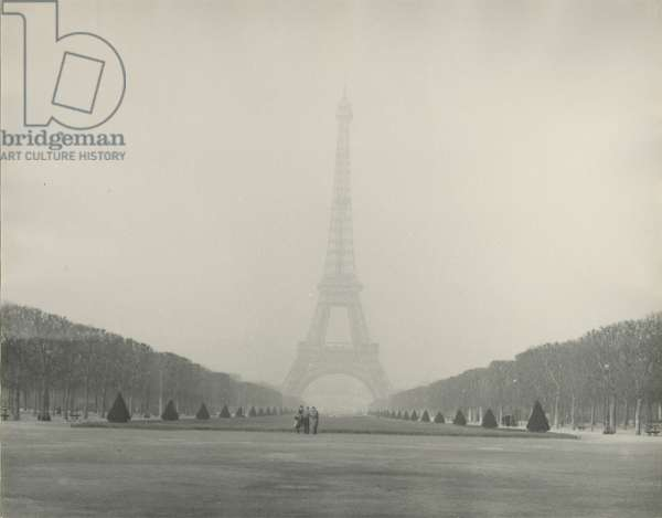 Eiffel Tower from the Champs de Mars, 1939 (black & white photo)