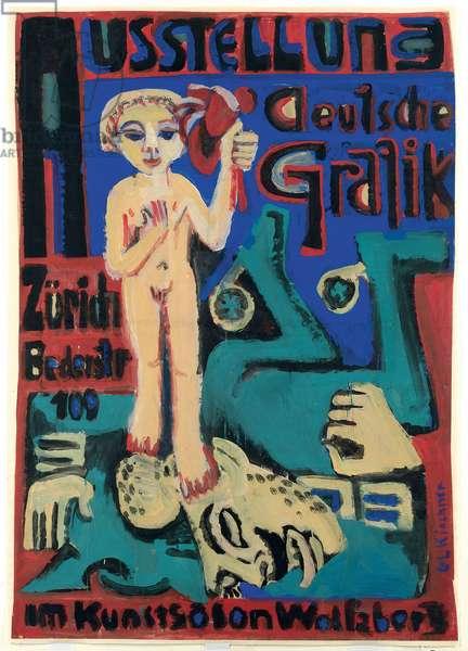 Exhibition of German Graphics at the Kunstsalon Wolfsberg; Ausstellung Deutsche Grafik im Kunstsalon Wolfsberg, c.1921-1923 (gouache on paper)